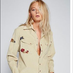 Flash sale!!!Free People Embroidered corduroy